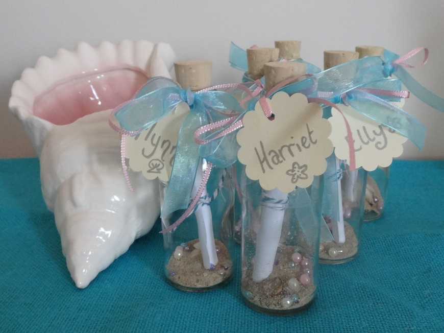 The finished Message in a Bottle invitations