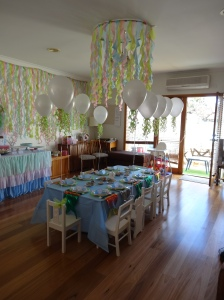 Our lounge room transformed for the under the sea party. Seaweed streamers made up a chandelier and ran the whole length of one wall