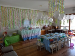 The Food Table, drinks and presents tables set under the seaweed streamers. We handmade the table skirt for the food table.
