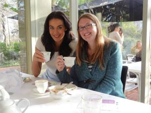 Shelly with Megan Gale at the end of the day